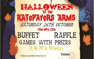 Halloween fun for all the family at the Ratepayers Arms Saturday 26th October 2019